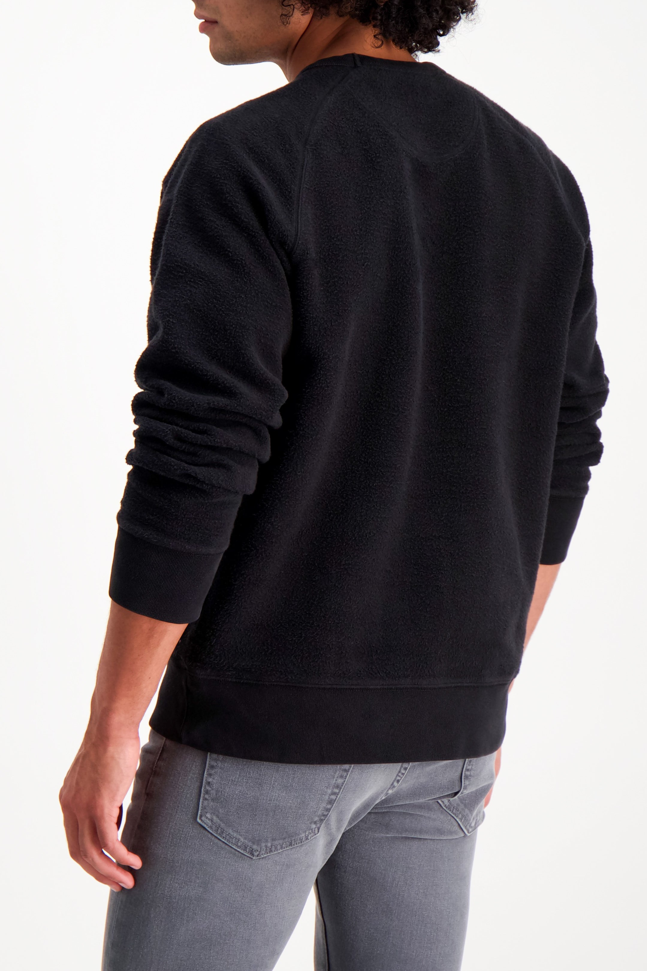 Back Crop Image Of Model Wearing Saturdays NYC Simon Crewneck In Black