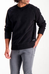 Front Crop Image Of Model Wearing Saturdays NYC Simon Crewneck In Black