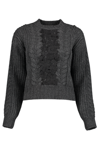 Front view image of See By Chloé Floral Cable Knit Sweater