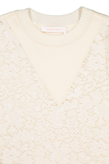 Front neckline detail image of See By Chloé Floral Lace Sweater