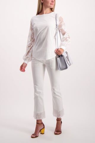 Full Body Image Of Model Wearing See By Chloé Long Sleeve Lace Shirt