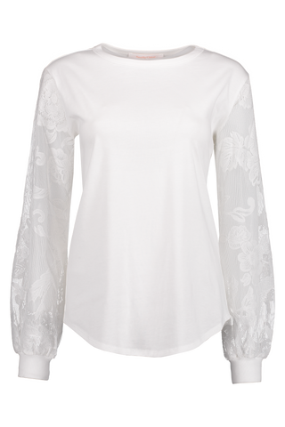 Front Image Long Sleeve Lace Shirt