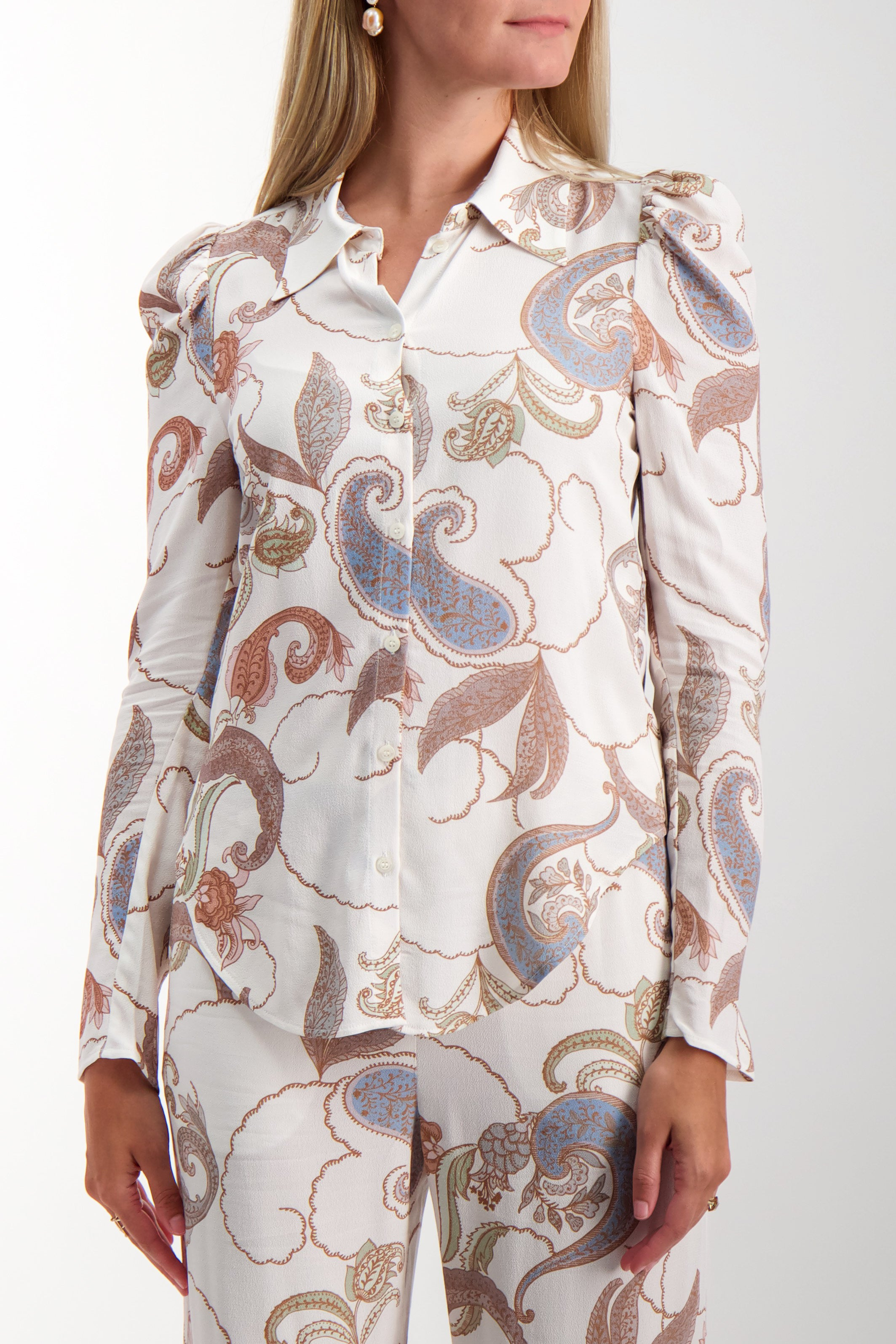 Front Crop Image Of Model Wearing See By Chloé Long Sleeve Paisley Blouse
