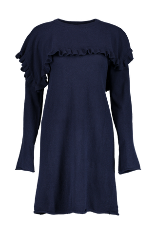 Long Sleeve Ruffle Sweater Dress In Ink Navy