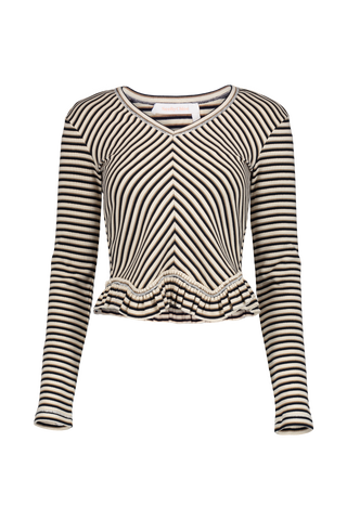 Long Sleeve Stripe Ruffle Shirt