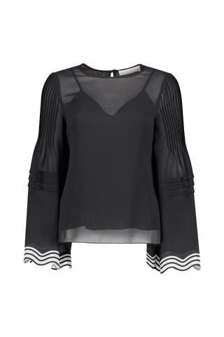Front view image of See By Chloé Long Sleeve Stripe Sleeve Blouse