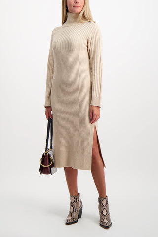 Full Body Image of Model Wearing See By Chloé Women's Long Sleeve Turtleneck
