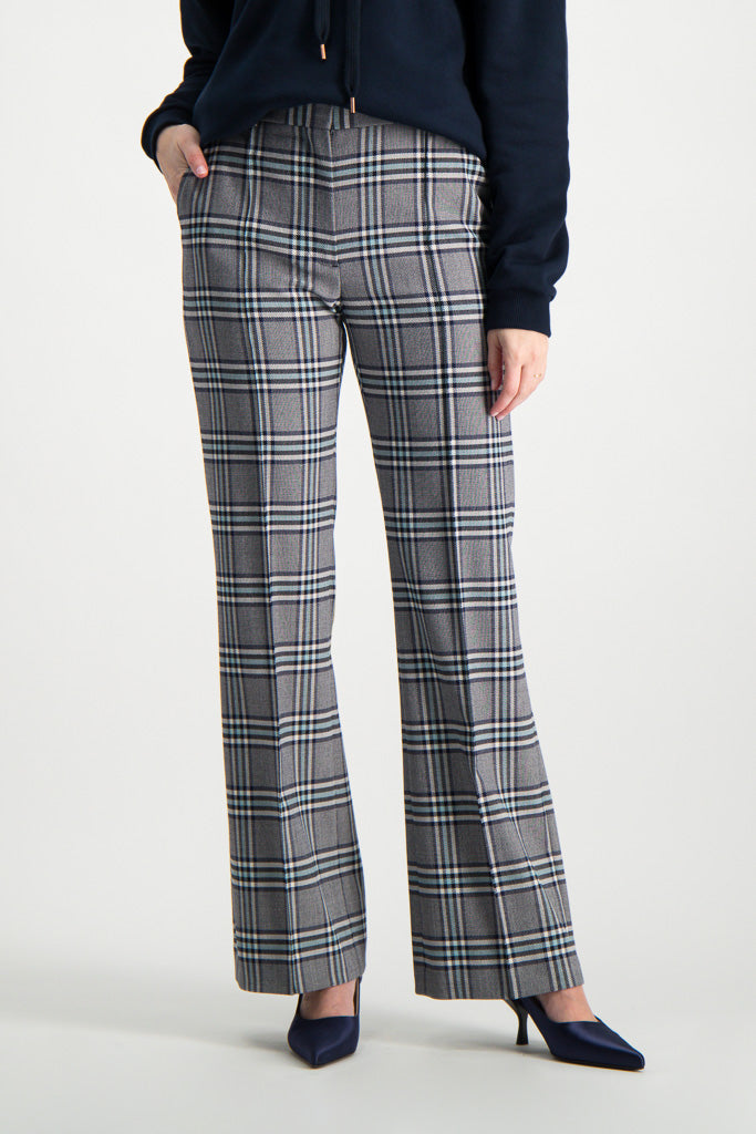 Front Crop Image Of Model Wearing See By Chloé Plaid Trouser