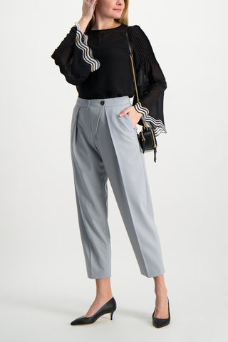 Full Body Image Of Model Wearing See by Chloé Pleated Trouser Cold Grey