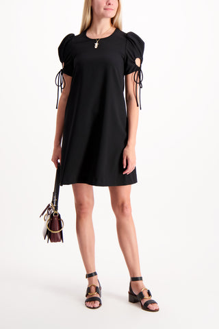 Full Body Image Of Model Wearing See By Chloe Ruched Sleeve Dress