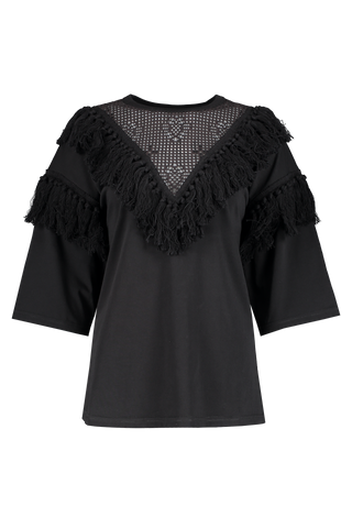 Front view image of See By Chloé Short Sleeve Fringe T-Shirt