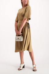 Full Body Image Of Model Wearing See By Chloé Short Sleeve Ruched Dress