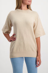 Front Crop Image Of Model Wearing See By Chloé Short Sleeve Sweater