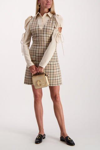 Full Body Image Of Model Wearing See By Chloé V-Neck Plaid Dress