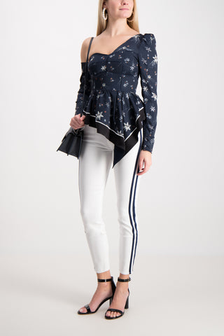 Asymmetric Star Satin Embellished Top