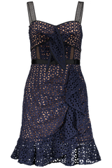 Broderie Mini Dress Floral Navy