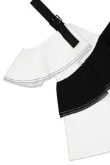 CREPE FRILL TO BLACK/WHITE