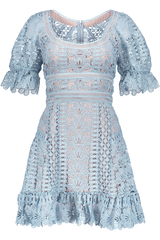 FLORAL LACE MINI DRESS BABY BLUE