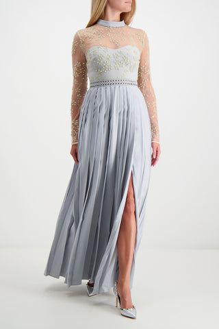 Mesh Maxi Dress Gold/Grey