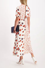 Back Crop Image Of Model Wearing Self-Portrait Mixed Floral Printed Dress