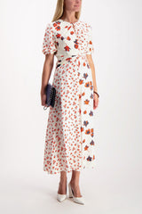 Full Body Image Of Model Wearing Self-Portrait Mixed Floral Printed Dress