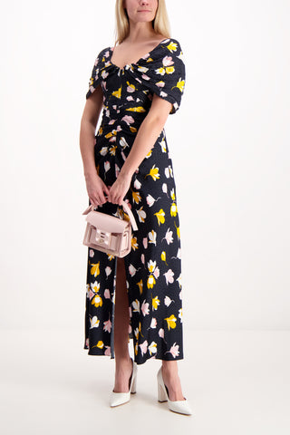 Front Image Model Wearing Off Shoulder Floral Printed Dress