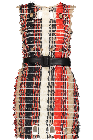 STRIPE FRINGE DRESS RED