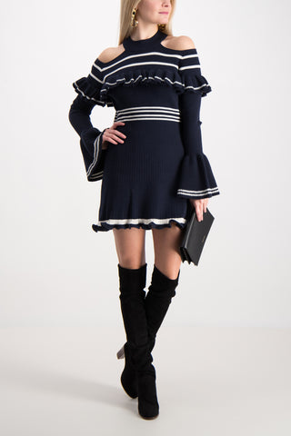 Striped Frill Knit Dress