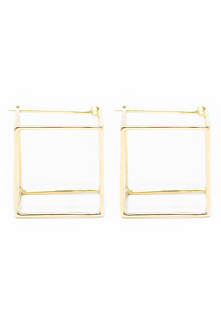 Front Image 3D Square Earring 18k Yellow Gold