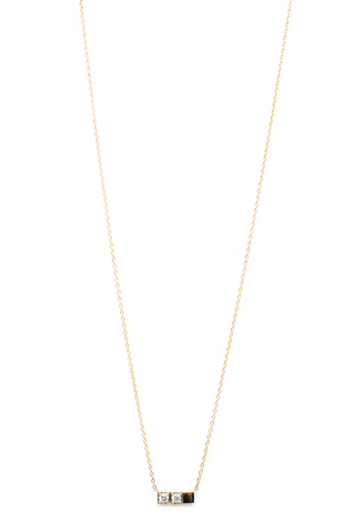 Front Image Block Necklace 02 18k Yellow Gold