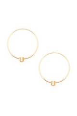 Aerial View One Stone Hoop Earring 03 18k Yellow Gold and Diamond