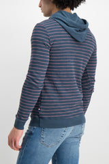 Back crop Image Of Model Wearing Image Of Sol Angeles Monterey Stripe Hoodie Jasper
