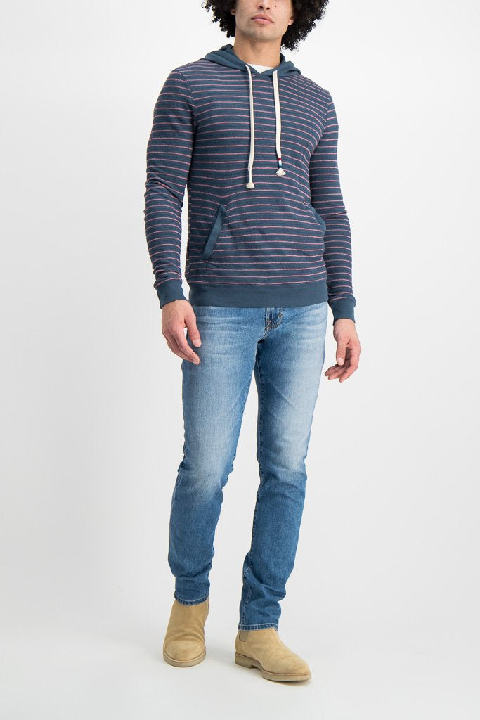 Front Image Of Model Wearing Image Of Sol Angeles Monterey Stripe Hoodie Jasper