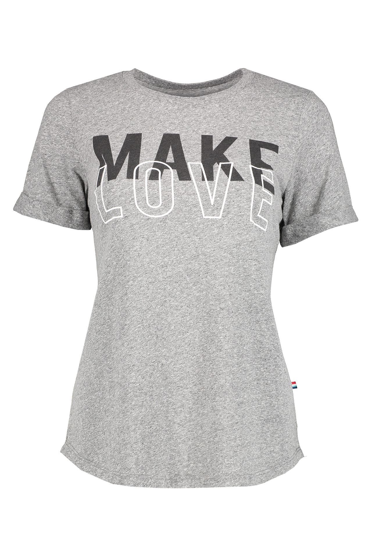Front image of Sol Angeles Women's Make Love Rolled Crewneck Tee