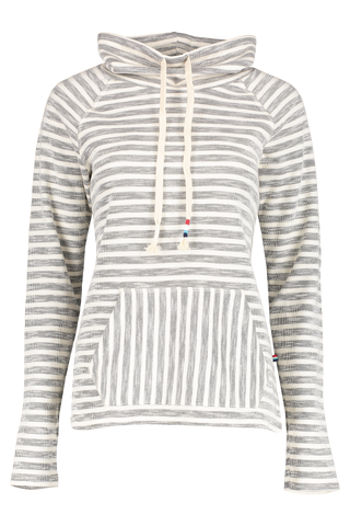 Front view image of Sol Angeles Women's Textured Stripe Cowl Pullover