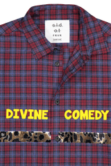 Front collar and graphic detail image of Sold Out Long Sleeve Plaid Divine Comedy Shirt