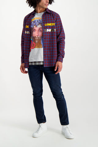 Full Body Image Of Model Wearing Sold Out Long Sleeve Plaid Divine Comedy Shirt