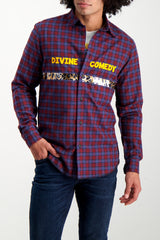 Front Crop Image Of Model Wearing Sold Out Long Sleeve Plaid Divine Comedy Shirt