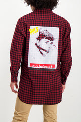 Back Crop Image Of Model Wearing Sold Out Long Sleeve Plaid Pulp Shirt