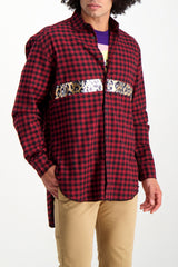 Front Crop Image Of Model Wearing Sold Out Long Sleeve Plaid Pulp Shirt