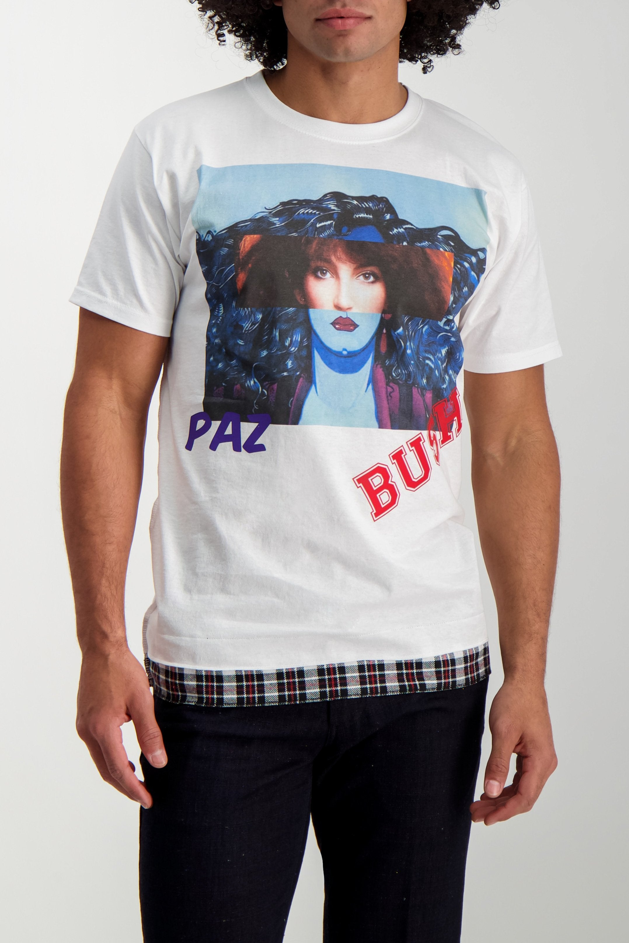 Front Crop Image Of Model Wearing Sold Out Short Sleeve Crewneck Paz Bush T-Shirt