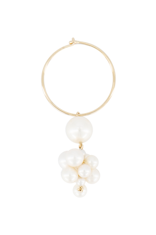 Botticelli Hoop 14K Yellow Gold & Freshwater Pearl Earring