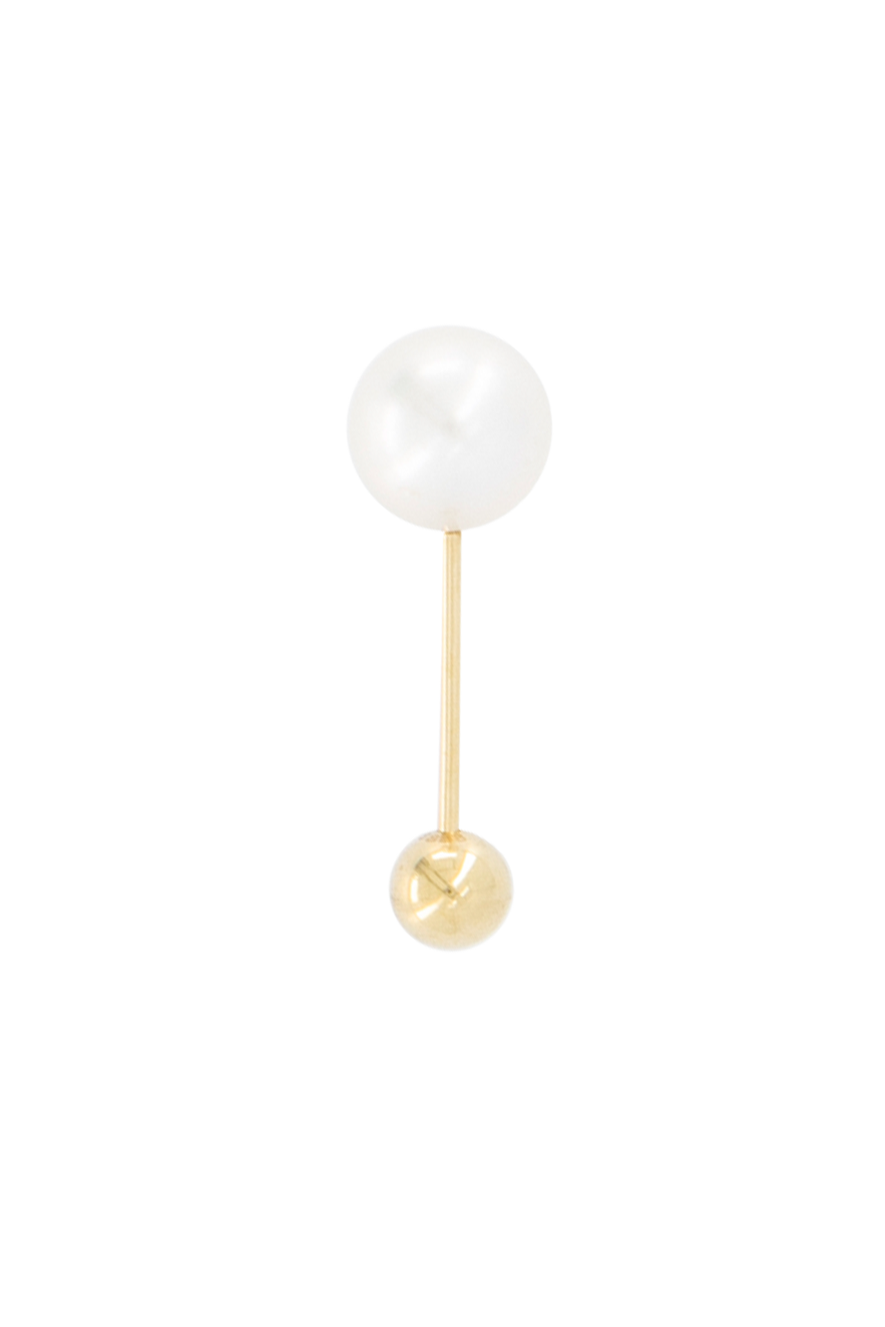 Elipse Simple 14K Yellow Gold & Akoya Pearl Earring