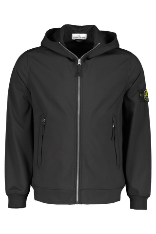 Front Image of Stone Island Black Jacket With Hood