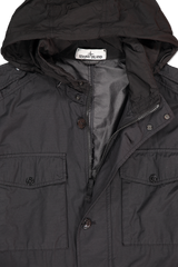 Hood Detail Image of Stone Island Black Jacket