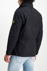 Back Crop Image Of Model Wearing Stone Island Black Jacket