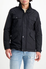 Front Crop Image Of Model Wearing Stone Island Black Jacket