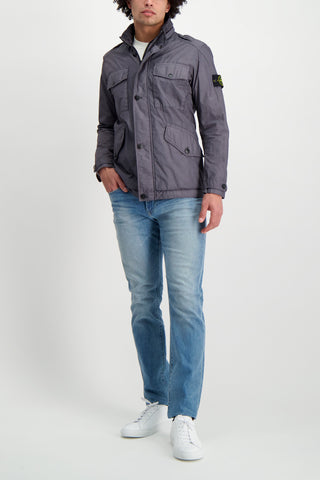 Full Body Image Of Model Wearing Stone Island Blue Grey Jacket