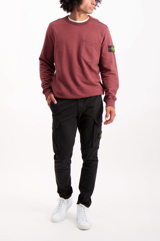 Full Body Image Of Model Wearing Brushed Cotton Crewneck with Chest Pocket Dark Burgundy