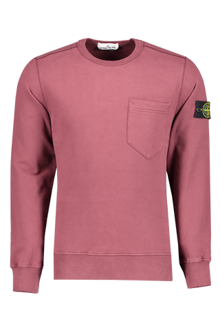 Front image Brushed Cotton Crewneck with Chest Pocket Dark Burgundy